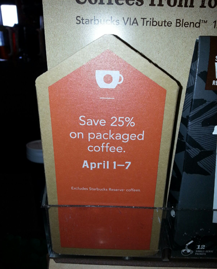 25% Off Starbucks Packaged Coffee!