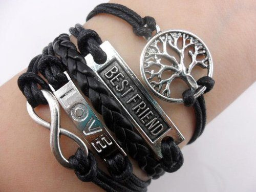 Infinity, Wish Tree, Best Friend, Love Black Leather Bracelet