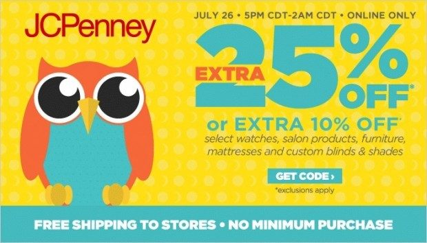 Online Exclusive - Extra 25% Off Tonight 5pm To 2am CST At JCPenney!