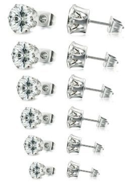 Stainless CZ Earrings 6 Pair 3mm-8mm  Just $7.99!  (Reg. $32