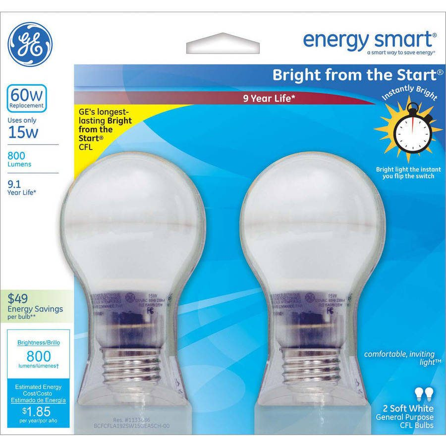GE 60W Equivalent CFL Light Bulb, 2-Pack Just $6.00! Down From $12.88!