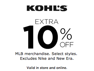 Get Extra 10% Off MLB Merchandise at Kohl's!