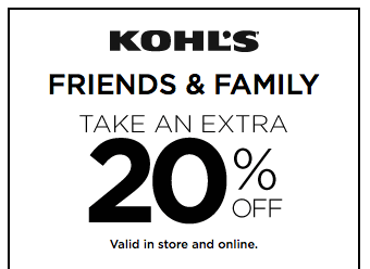 Kohl's: 20% Off Friends & Family Sale!
