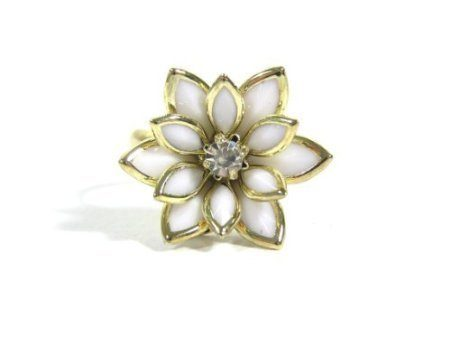 White Lotus Flower Adjustable Ring Just $1.79 SHIPPED!
