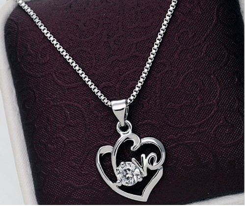 Love With a Round Zircon Pendant Necklace Just $3.90 Shipped!