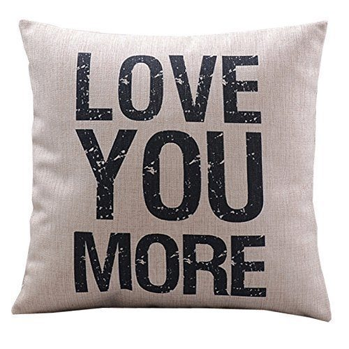 "Throw Pillow Cushion Cover Love You More Square 18"" Only $3.29!  Ships FREE!"