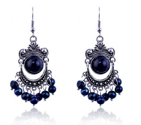 Lureme Vintage Black & Blue Bead Chandelier Earrings Only $8.47!