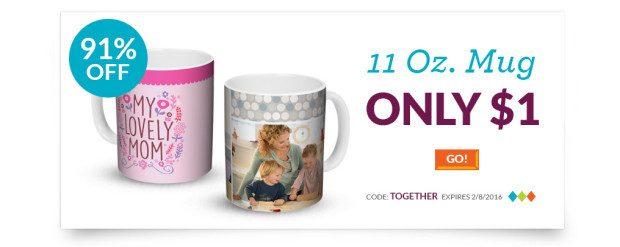 11 Oz Photo Mug Just $1!