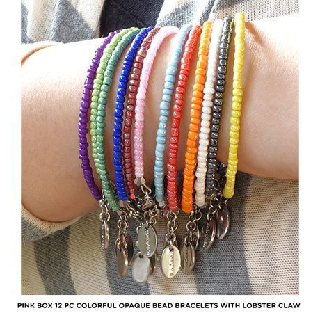 Adjustable Colorful Bead Stainless Steel Bracelets 12 Pc Set Only $11 Shipped!