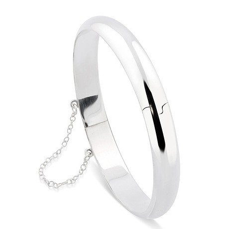 Smooth Sterling Silver Hinged Bangle with Safety Chain Only $21 Shipped!