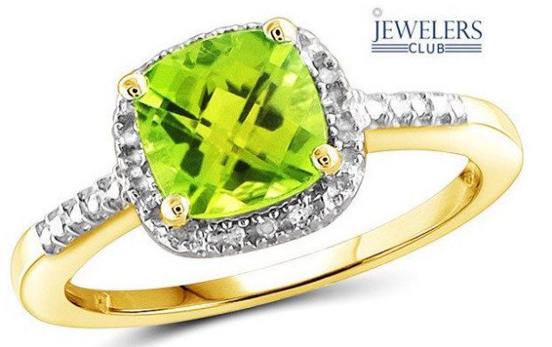 Genuine Peridot & White Diamond Ring Only $22 Shipped!