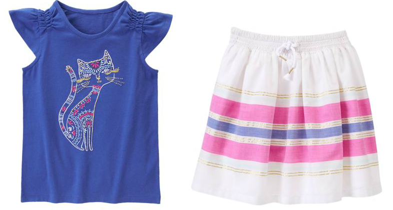 Desert Glam Kitty Tee & Sparkle Striped Skirt Only $12.99 Each At Gymboree!