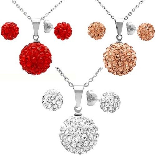 Steeltime - Women's Stainless Steel Fireball Pendant & Earring Set w/18