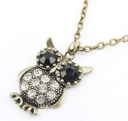 Black And White Owl Gemstone Necklace Just $1.59 Shipped!