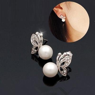 Pearl and Rhinestone Butterfly Stud Earrings Only $1.99 + FREE Shipping!