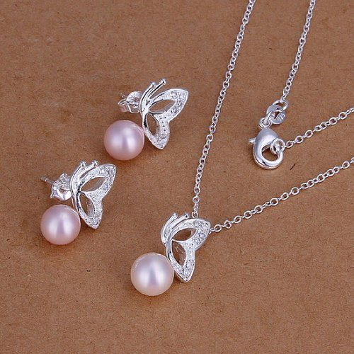 Pearl & Butterfly Necklace & Earrings Only $4.75 + FREE Shipping!