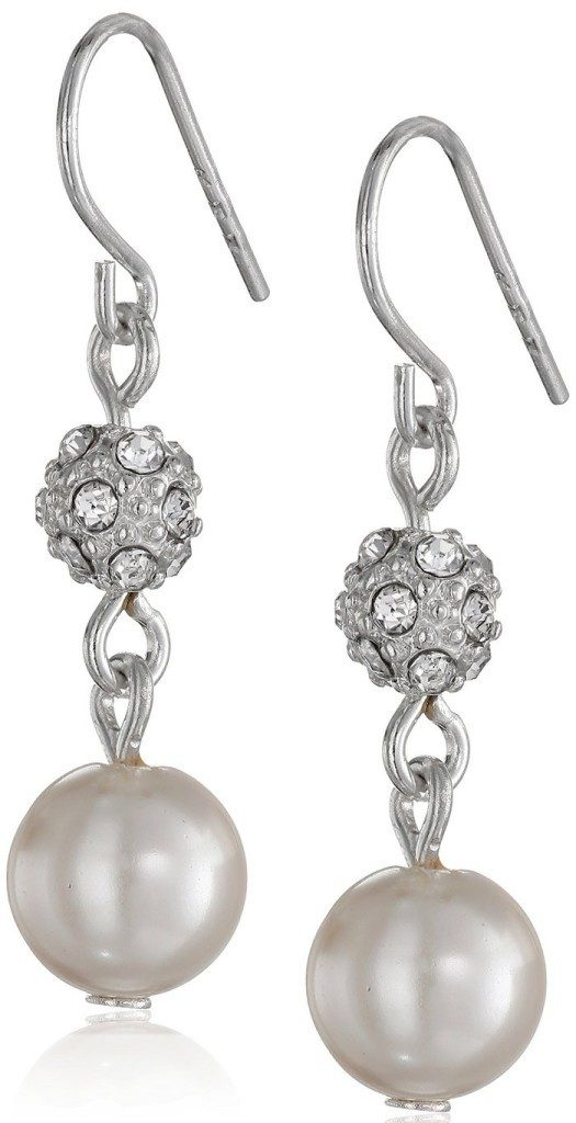 Simulated Pearl and Pave Fireball Drop Earrings Now Only $7.50!