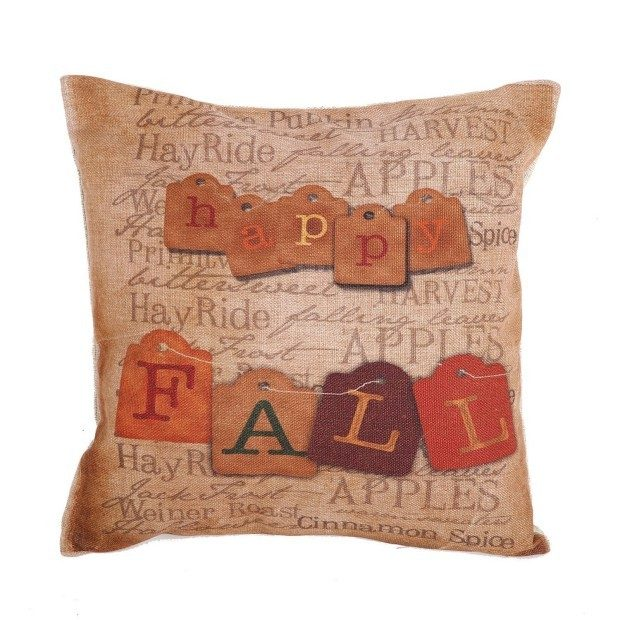 "Happy Fall Vintage Printed 18"" Pillow Cover Just $5.79! Ships FREE!"