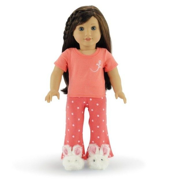 "Compatible With American Girl 18"" Doll - Coral Pajamas & Bunny Slippers Only $15.95!"