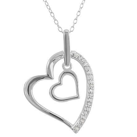 In Her Heart Sterling Silver Cubic Zirconia Pendant Only $17.99! Down From $99.99!