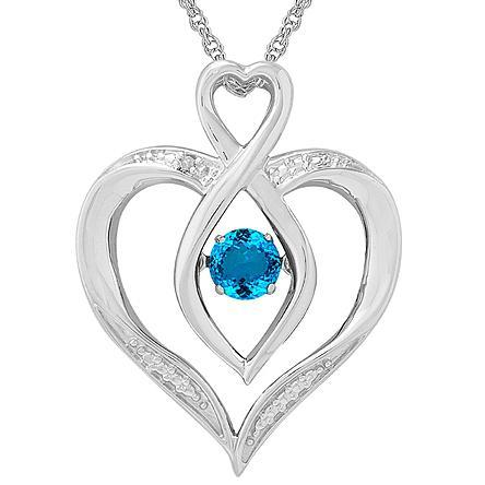 Aqua Dancing Heart Pendant with Diamond Accent Just $59.99! Down From $174.99!