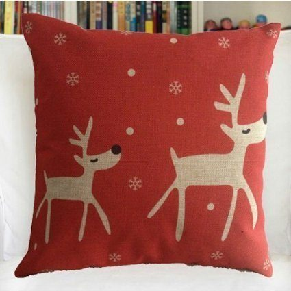 Reindeer Cotton Linen Pillow Cover Only $2.98!  Ships FREE!
