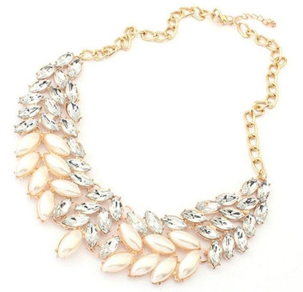 Pearl Rhinestone Chunky Necklace Only $4.40 Plus FREE Shipping!