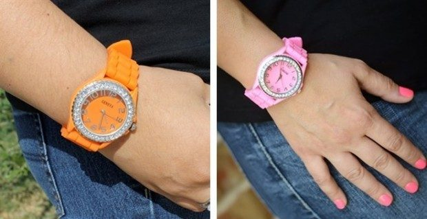 Women's Geneva Rhinestone-Accented Silicone Watch Just $5.98 Shipped!