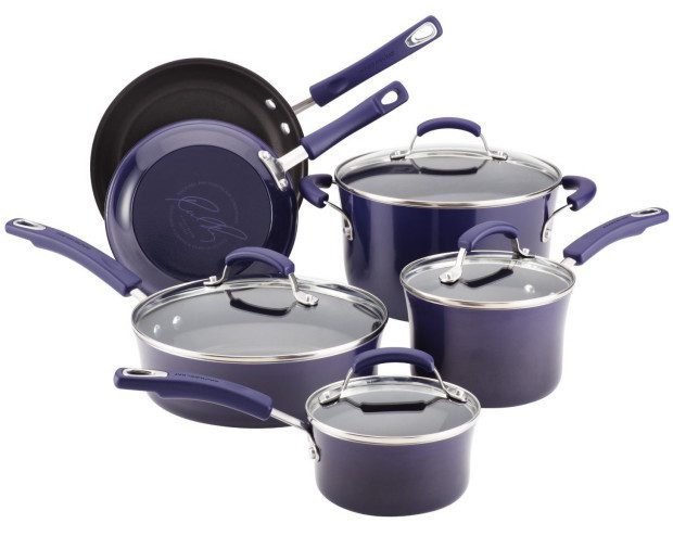 Rachael Ray Hard Enamel Nonstick 10-Piece Cookware Set Just $95.99! Down From $245!