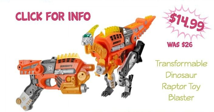 Transformable Dinosaur Raptor Toy Blaster Only $14.99 (Regularly $26)