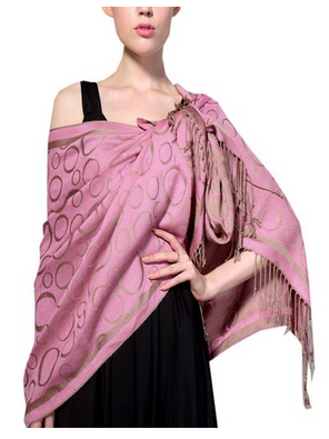Soft Wrap Shawl - Pink with Coffee Only $4.99!