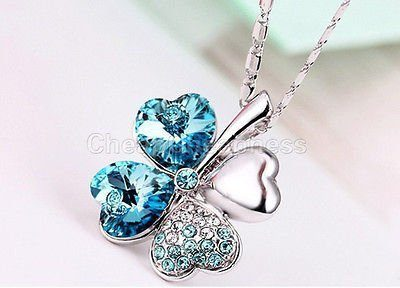 silver plated crystal clover necklace
