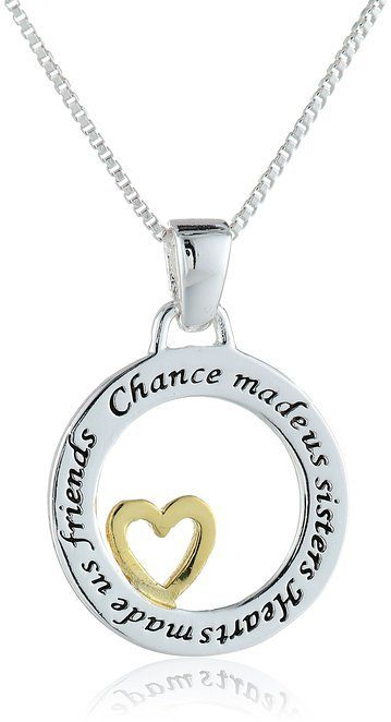 Two-Tone Sisters Pendant Necklace Only $16.99!