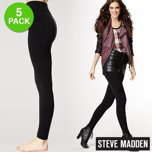 Steve Madden Women's Ultra Comfort Fleece Lined Leggings 5 Pack Just $19.99 At GearXS! Ships FREE!