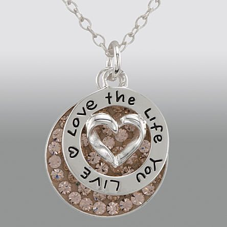 "Sterling Silver ""Love the Life You Live"" Charm with Round Pink Crystal Pendant Only $11.99! Down From $79.99!"