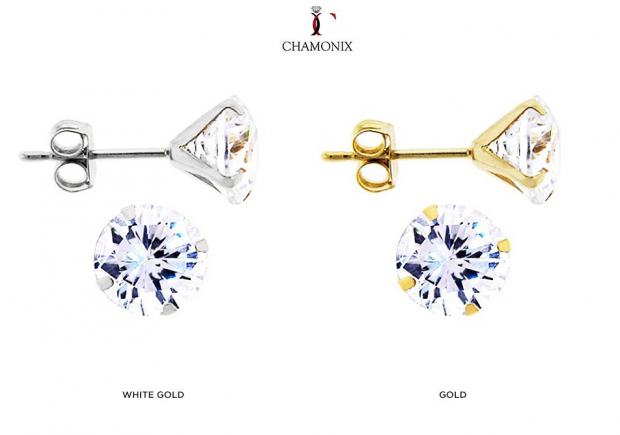 Chamonix 2Ct CZ Solid 14-Karat Gold Stud Earrings Only $18 Shipped!