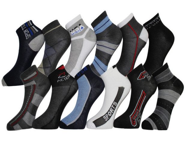 Men's Patterned Cotton-Blend Low-Cut Sport Socks - 24 Pr. Just $14.99!