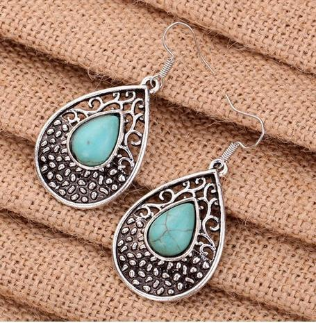 Tibetan Silver and Turquoise Teardrop Earrings Only $2.50!