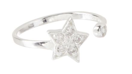 Sterling Silver & Clear Crystal Star Toe Ring