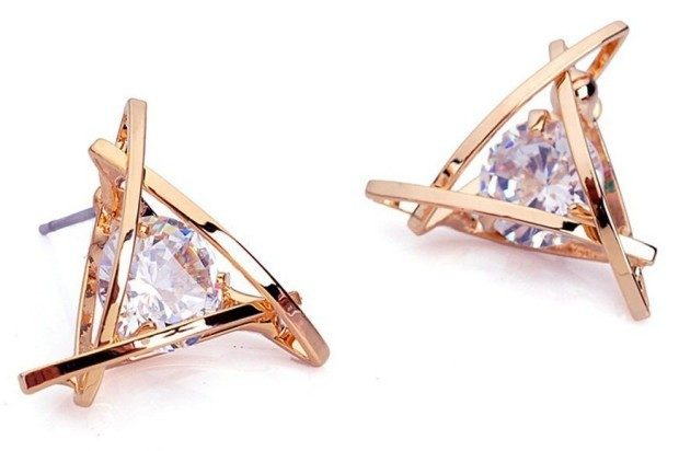 Rose Gold Swarovski Crystal Triangle Earrings Only $2.95 + FREE Shipping!
