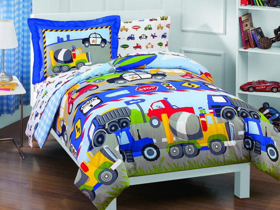 Dream Factory Trucks Tractors Cars Boys 5-Piece Twin Comforter Sheet Set Just $40.50 Down From $90!