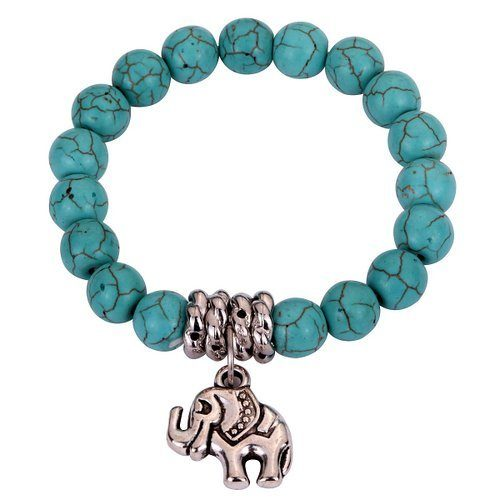 Turquoise Bead Stretch Bracelet with Elephant Charm Just $3.00!