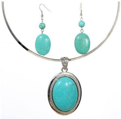 turquoise oval necklace and earrings set