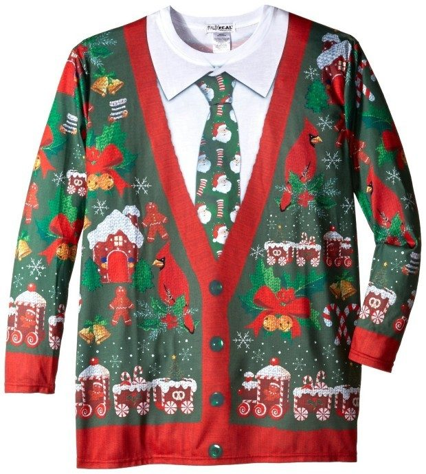 faux real mens big tall ugly christmas cardigan long sleeve t shirt just 1821 - Big And Tall Christmas Sweaters