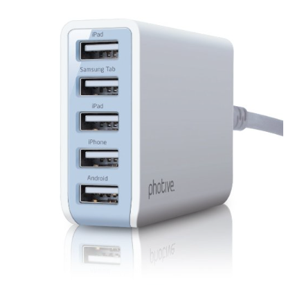 Photive 25 Watt 5 Port USB Desktop Rapid Charger Just $14.95!