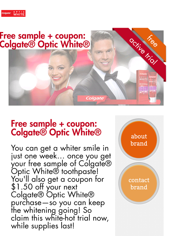 FREE Colgate Optic White Toothpaste Sample!
