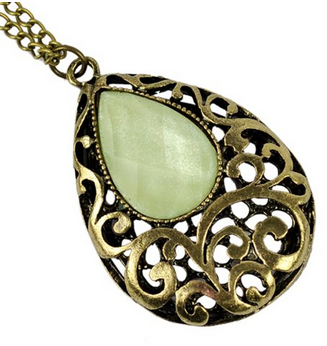Vintage Bronze Drop Shaped Stone Necklace Just $3.31 SHIPPED!