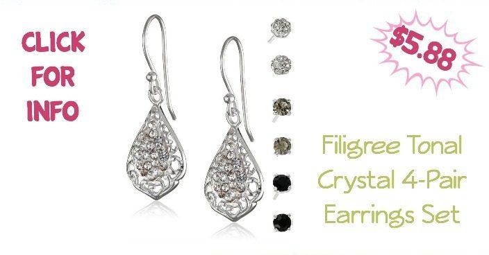 Filigree Tonal Crystal 4-Pair Earrings Set Just $5.88!