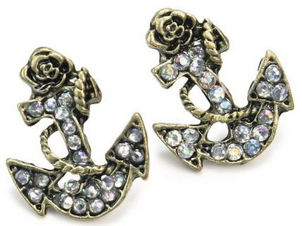 White Crystal Anchor Earrings Only $3.41 + FREE Shipping!