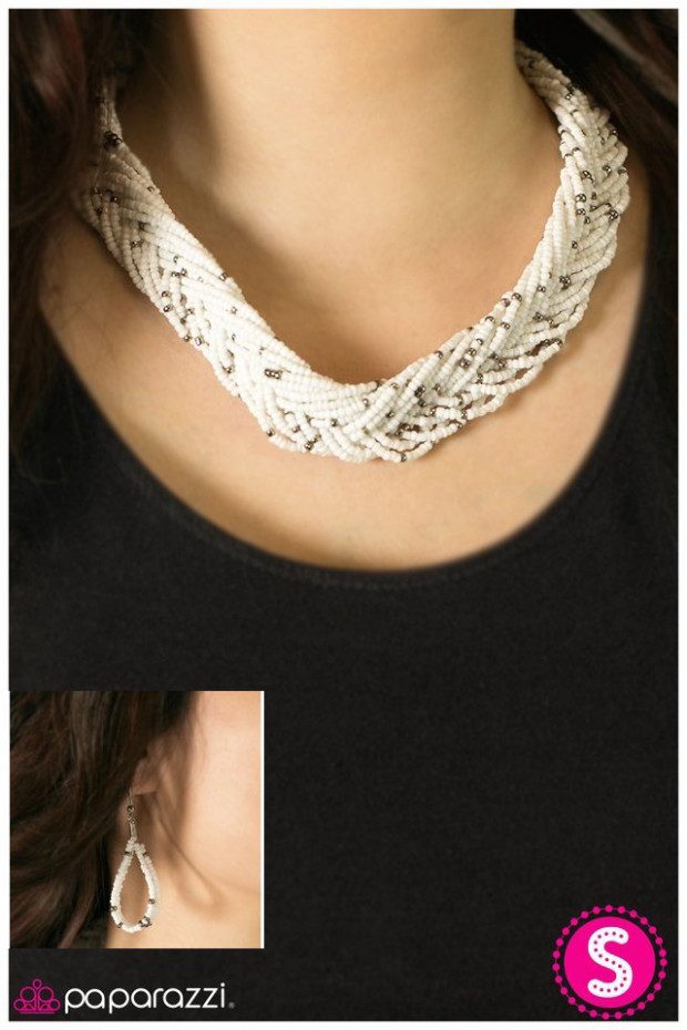 White Bead Necklace And Matching Earrings Only $5!